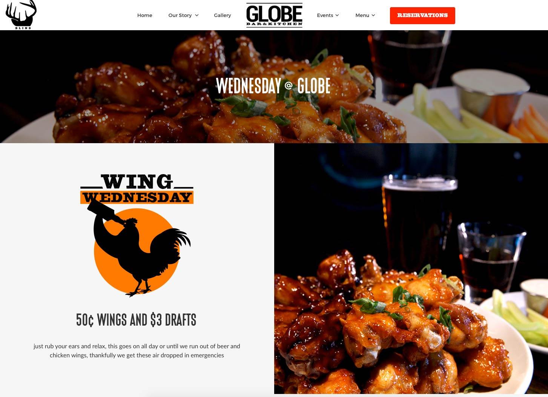 website design example pub restaurant industry