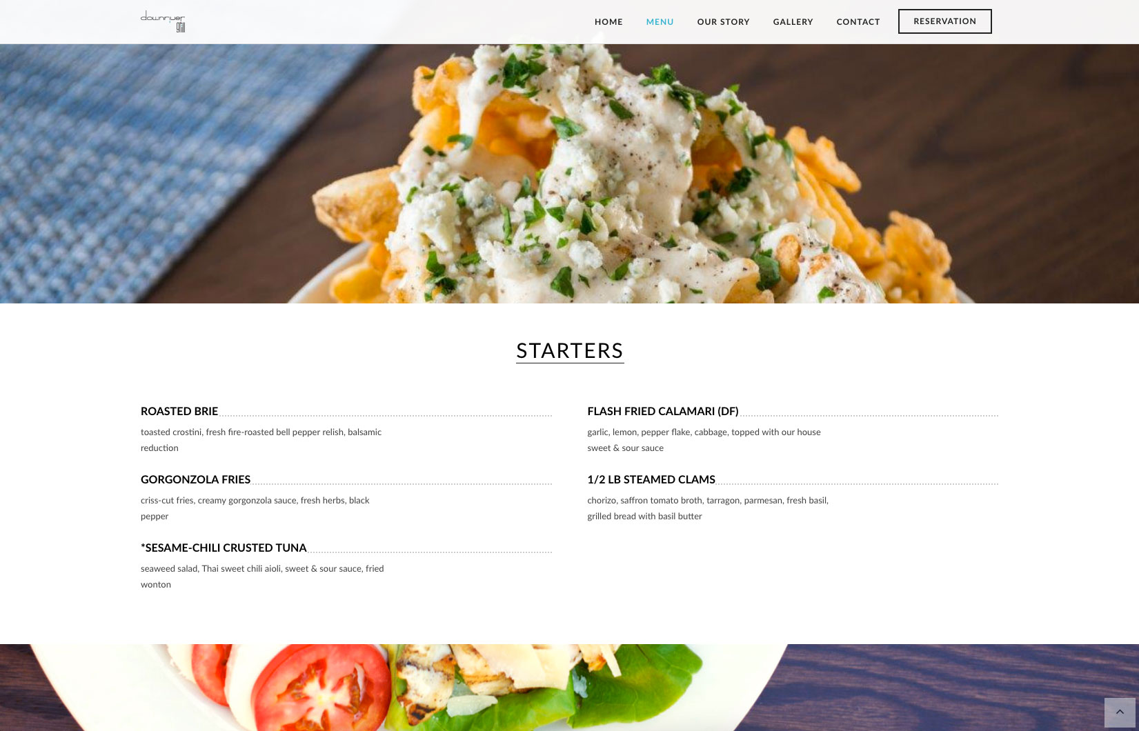 website design example restaurant starter page