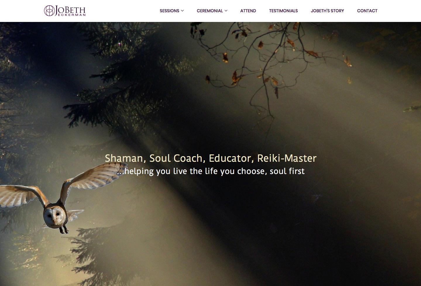 spiritual website designer example home page jobeth eckerman