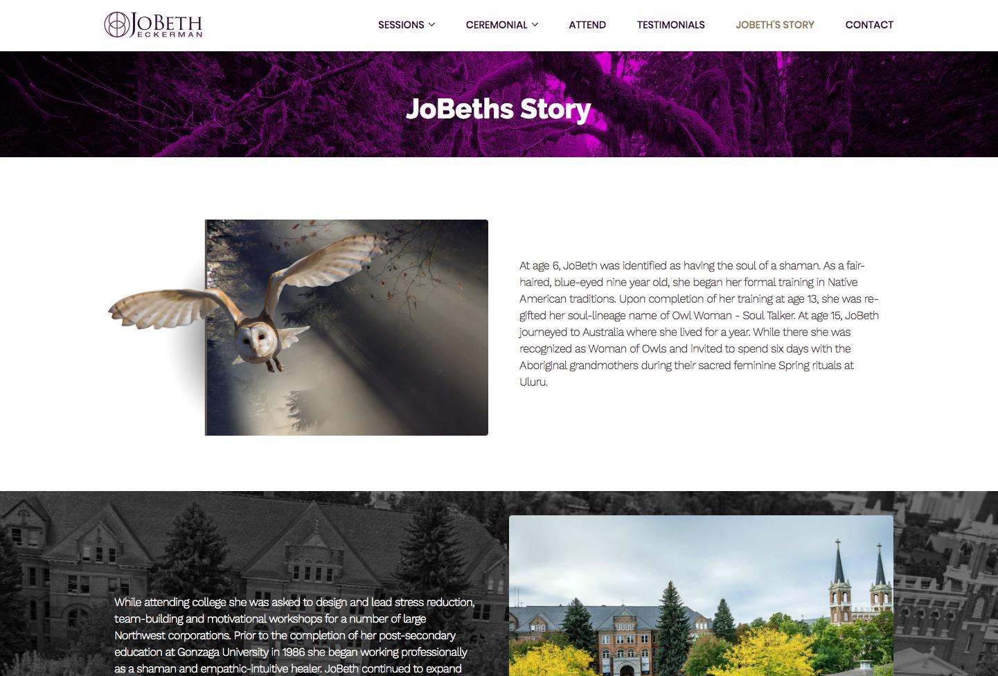 spiritual website designer example story page