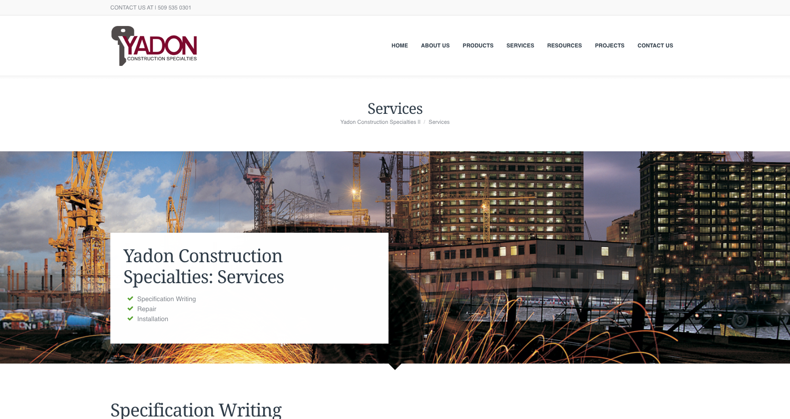 web design example construction industry