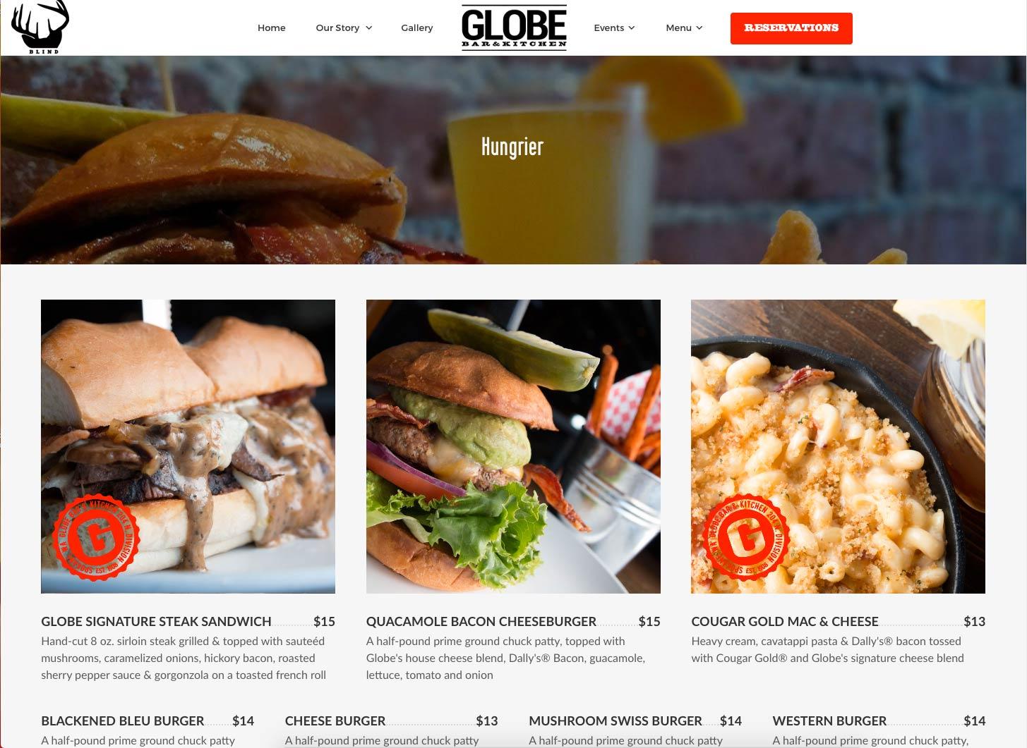 website design example online menu